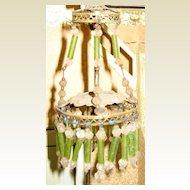 Antique German miniature green beaded chandelier