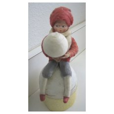 Antique German Heubach Googly eye Christmas cotton candy container Snowball