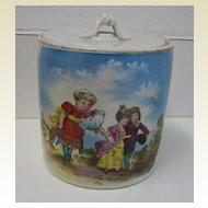 Antique German rare child's biscuit jar children scene