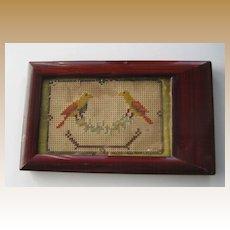 Antique miniature sampler dollhouse Bird motif