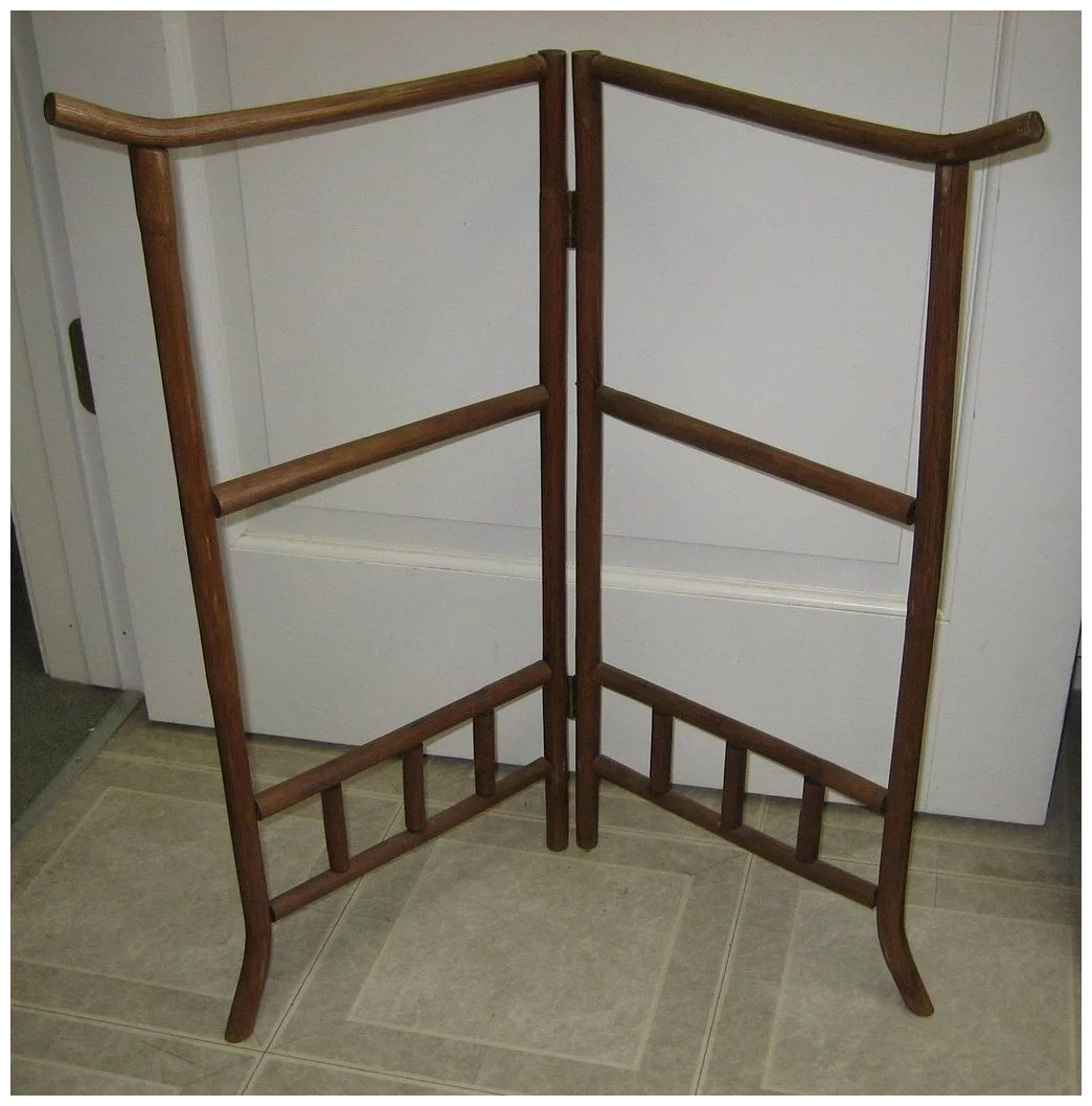 Antique Wood Faux Bamboo Quilt Rack Or Doll Screen Material Could Be Added For A Each Panel Is 13 1 2 Which 27 Wide X 26 Tall