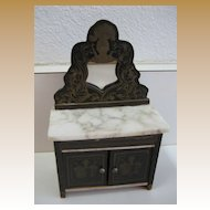 Antique miniature German Boule Biedermeier doll house furniture mirrored marble dresser