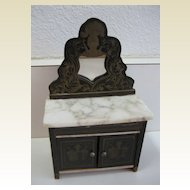 Antique miniature German Boule Biedermeier doll house furniture mirrored marble dresser