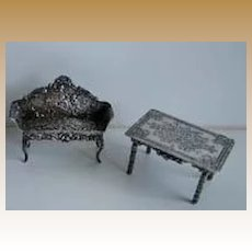 Antique miniature dollhouse furniture 2 piece silver or silver plate set