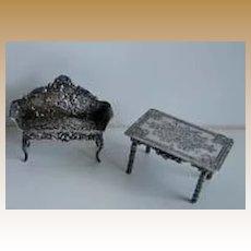 Antique miniature dollhouse furniture 2 piece silver or silver plate set