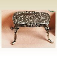 Antique Silver miniature table with bird design