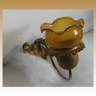 Antique Miniature Doll House German gilt metal gas sconce amber shade