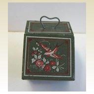 Green tin antique miniature dollhouse bird decorated fireplace Scuttle