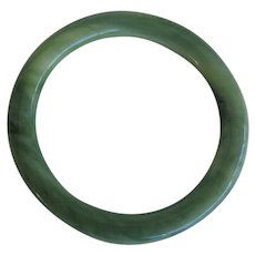 Vintage Lucite Green Marbled Bangle Bracelet