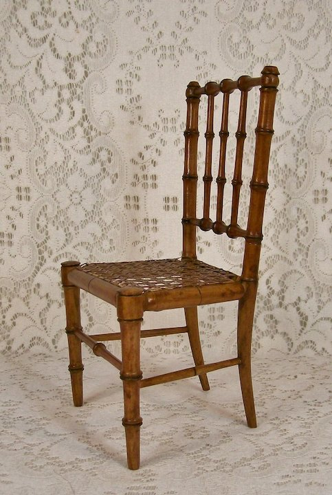Antique French Faux Bamboo Doll Chair - Antique French Faux Bamboo Doll Chair : Dee's Dolls & Antiques