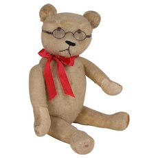 """22"""" Antique White Mohair Jointed Teddy Bear"""