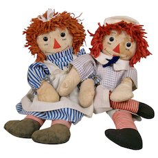 Pair of Transitional Raggedy Ann & Andy Dolls by Georgene