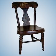 19th Century Plank Bottom / Fiddle Back Doll Chair w/ Original Paint