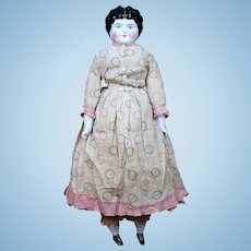 """24.5"""" German China Head Doll with Original Clothes"""