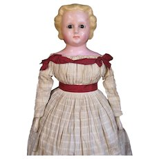 Museum Quality Large Wax-Over Papier Mache Doll All Original