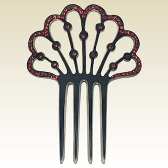 Antique Celluloid and Red Rhinestone Lady's Hair Comb