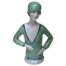 Art Deco Porcelain Flapper Half Doll