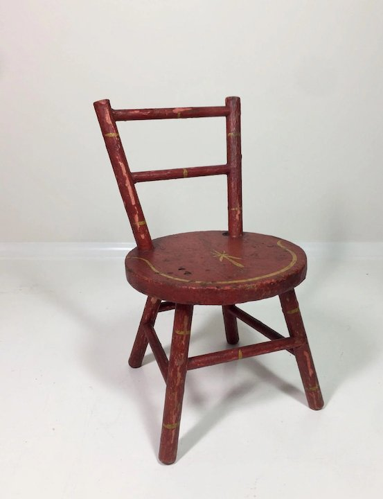 Antique Doll Chair w/ Original Paint and Stenciling - Antique Doll Chair W/ Original Paint And Stenciling : Dee's Dolls