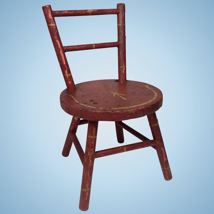 Antique Doll Chair w/ Original Paint and Stenciling - Antique Doll Chair W/ Original Paint And Stenciling