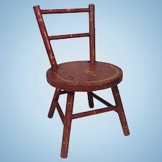 Antique Doll Chair w/ Original Paint and Stenciling