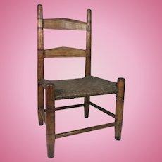 19th Century Slat Back Doll Chair w/ Pegged Construction