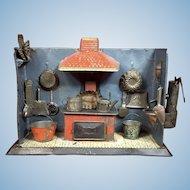 Antique German Tin Kitchen w/ Accessories