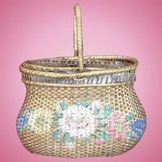 Wonderful Antique Basket for Large French Fashion or Bebe