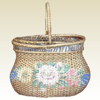 Wonderful Antique Basket for Large French Fashion or Bebe
