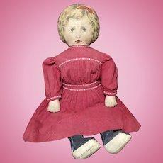 "26"" Art Fabric Mills Cloth Doll w/ Fabulous Red Dress"