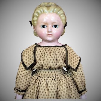 Lovely German Wax Over Papier Mache Doll w/ Alice Hairstyle and Sleep Eyes
