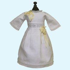 Lovely White Pique Doll Dress for Bebe