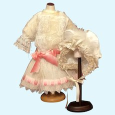 Wonderful Lacy Bebe Dress with Fancy Bonnet