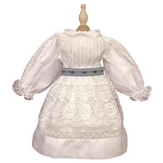 Very Pretty White Cotton Doll Dress for Smaller Doll
