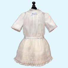 Sweet Antique Cotton Doll Dress with Slight Dropped Waist