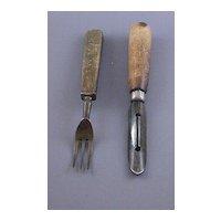 Wood Handled Vintage Fork and Vegetable Peeler