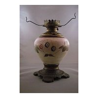 Antique Hand Painted Victorian Oil / Kerosene Lamp
