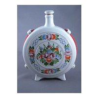 Vintage Hollohaza Hungary Hand Painted Flask Decanter