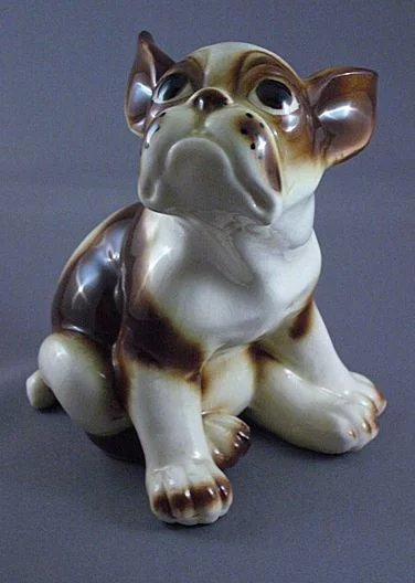 Vintage Ceramic French Bull Dog Figurine Wales Co Japan