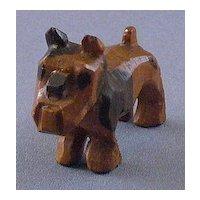 Vintage Wood Carved Dog, Bulldog or Terrier