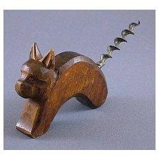 Vintage Carved Wood Cat or Dog Corkscrew