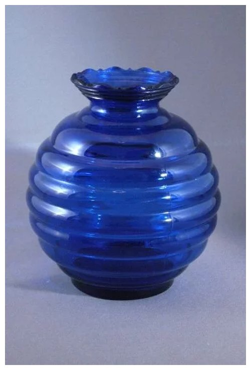 Vintage Cobalt Blue Glass Beehive Or Ball Shaped Vase Usa Better