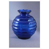 Vintage Cobalt Blue Glass Beehive or Ball Shaped Vase, USA