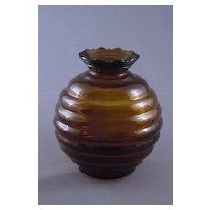 Vintage Amber Brown Glass Beehive or Ball Shaped Vase, USA