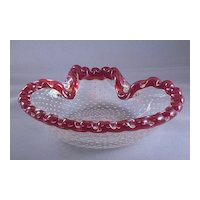 Vintage Cranberry And Clear Bubble Glass Ashtray Or Dish