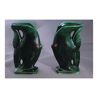Vintage LeBow of California Green Fish Vases