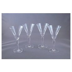 Four Vintage Clear Glass Cordials