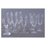 Eight Vintage Clear Glass Cordials