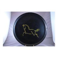 Vintage Asian Handpainted Black Round Tray With Yellow Horse