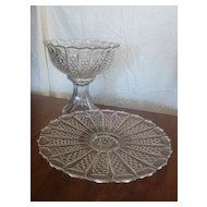 Pressed Glass Crystal Punch Bowl with  Sandwich Platter, Stand and Ladle