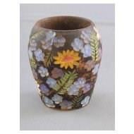 Carved Wooden Vase With Hand-painted Decoration